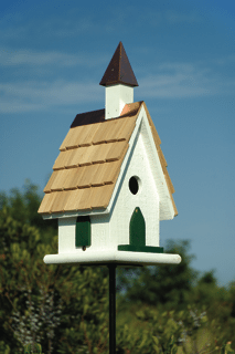 Country Church Birdhouse White Copper Steeple Product Photo