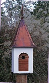 Birdhouse White Brown Copper Roof Product Photo