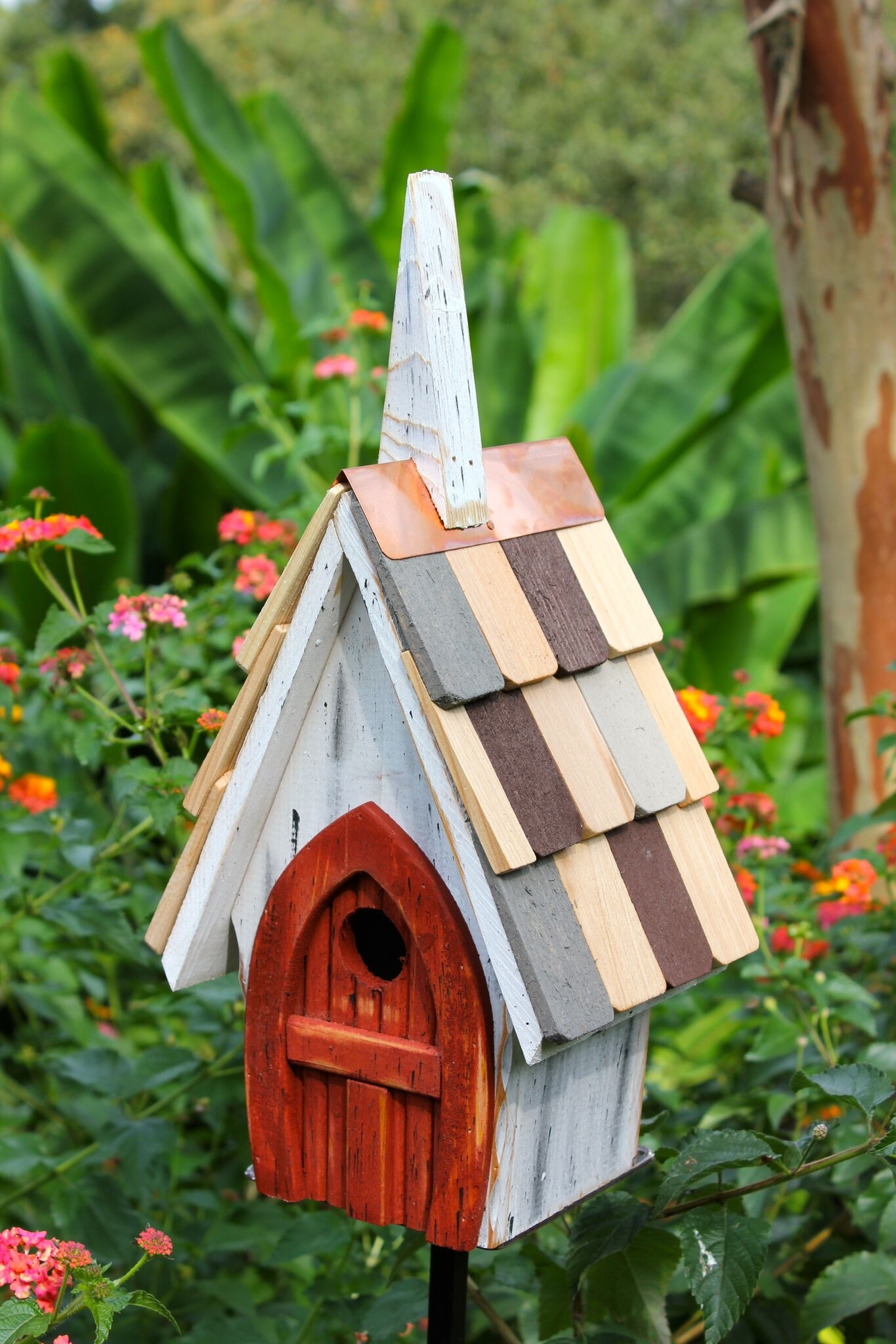 Birdhouse White Red Door Product Photo