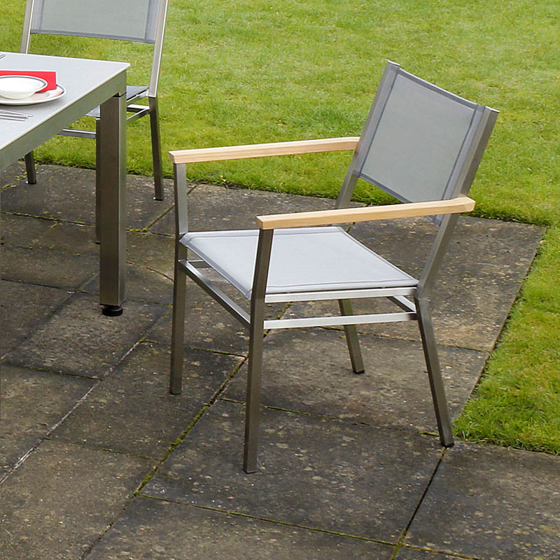 Barlow Tyrie Equinox Stainless Steel and Sling Stacking Dining Armchair
