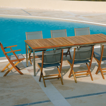 Teak Folding Side Chair Textilene Sling Product Photo