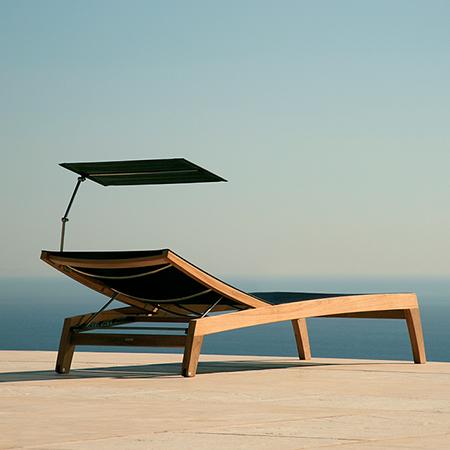 Barlow Tyrie Horizon Teak Sling Chaise Lounge