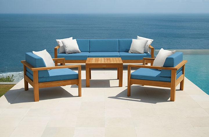 Linear Teak Deep Seating Ensemble Product Photo