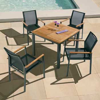Barlow Tyrie Aura Teak and Aluminum Square 35 Dining Table