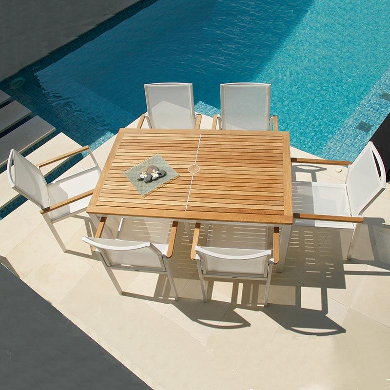 Aura Teak Aluminum Rectangular Dining Table Product Photo