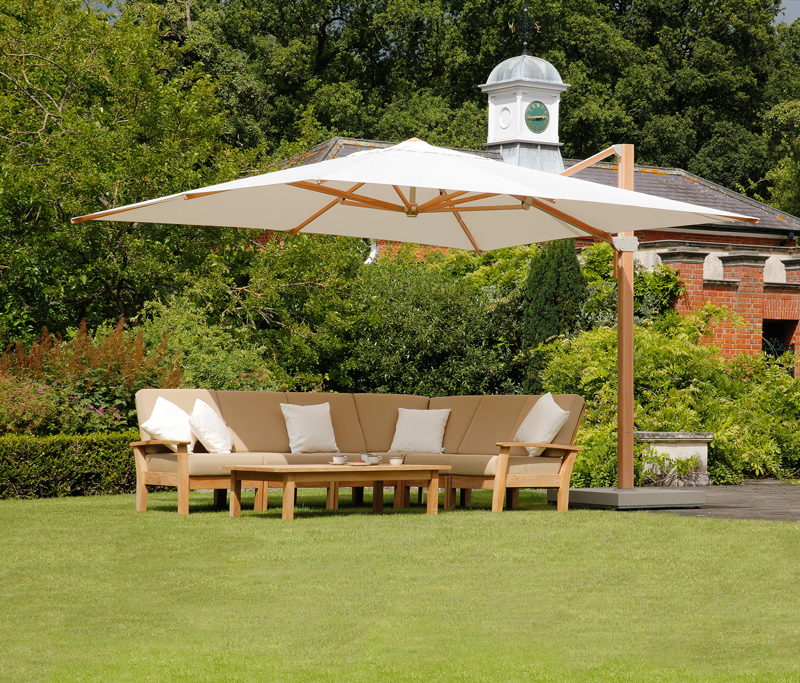 Barlow Tyrie Haven 8pc Teak Seating Ensemble with Umbrella