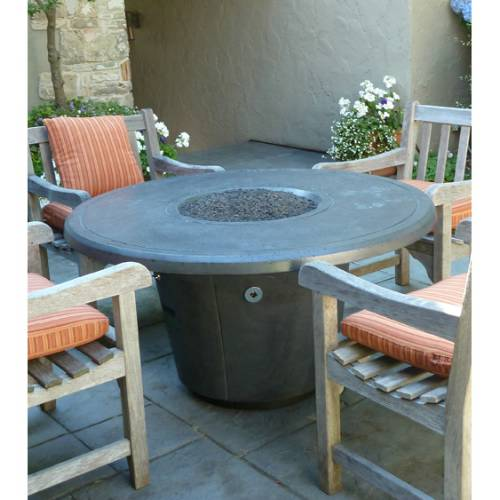 Round Fire Pit Table Wood Pic