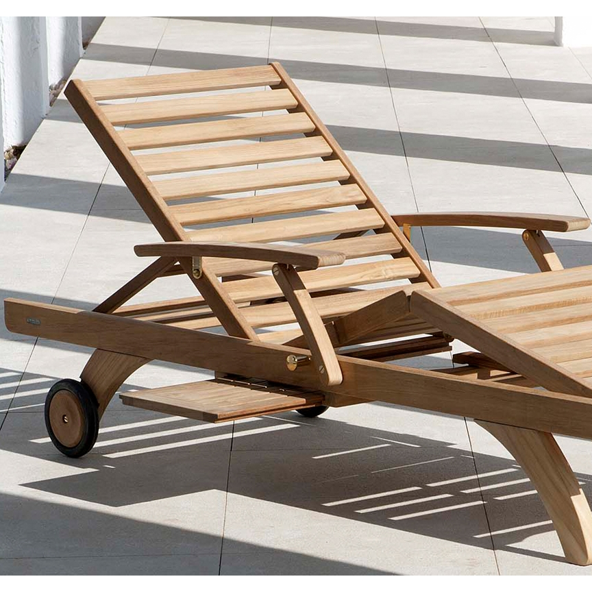 Teak Sun Chaise Lounge Wheels Pull Out Tray Pic