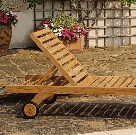 Teak Chaise Lounger Wheels Product Photo