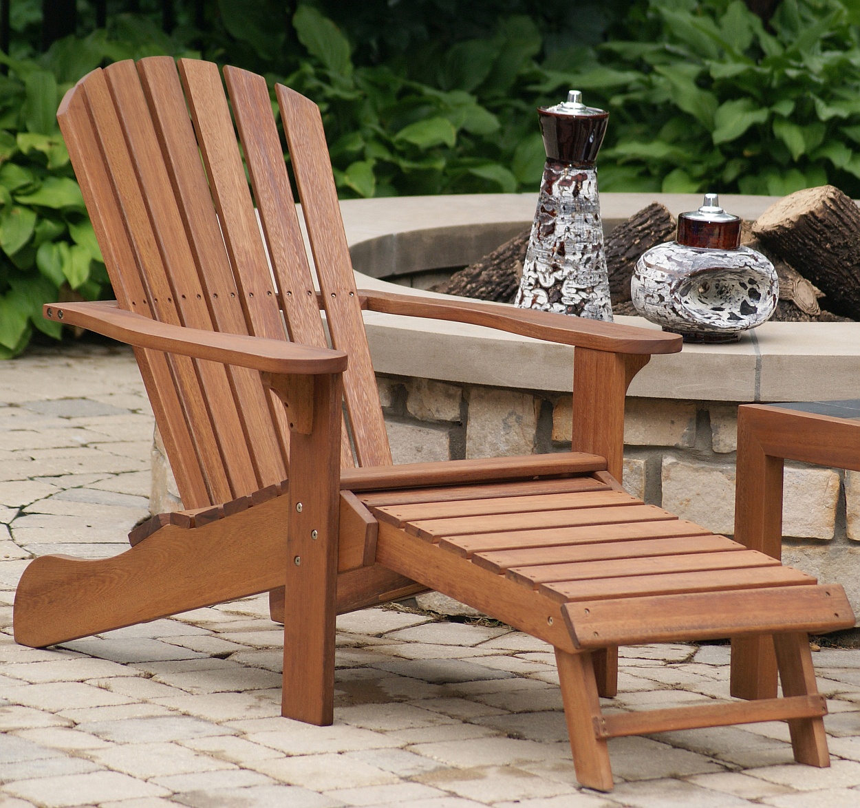 Eucalyptus Adirondack Chair w Built in Ottoman