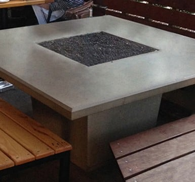 Square Dining Fire Pit Table Wood Product Photo