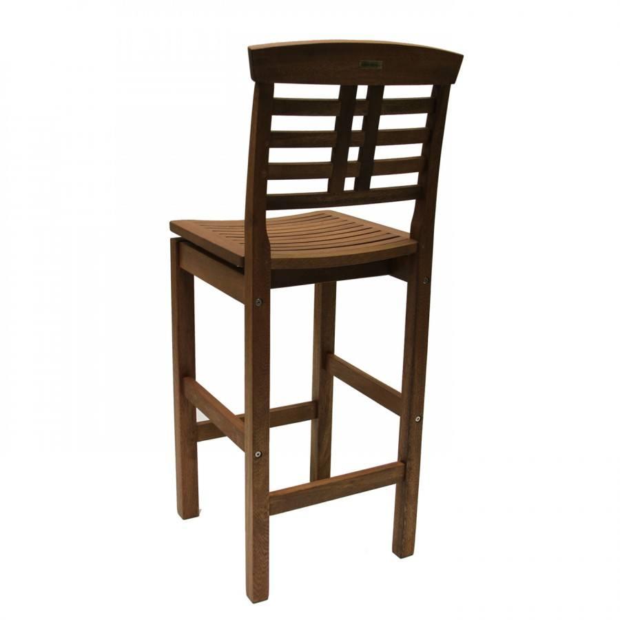 Outdoor interiors eucalyptus bar chair with backrest for Outdoor interiors eucalyptus rocking chair