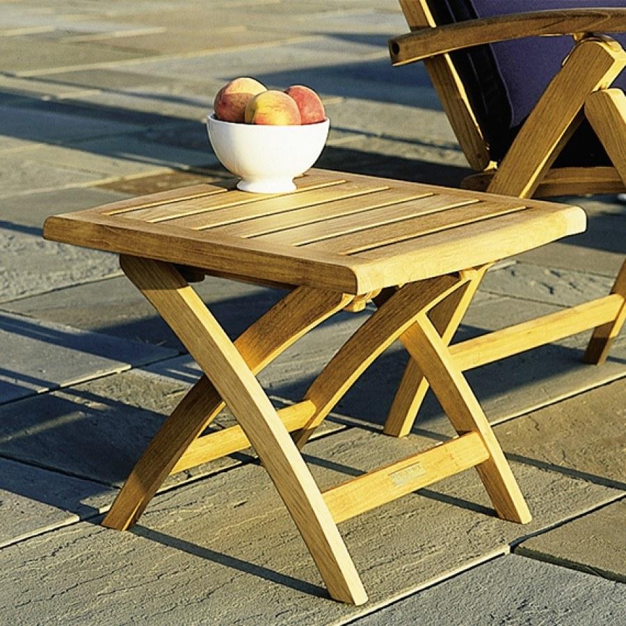 Kingsley Bate St. Tropez Teak Folding Ottoman/Side Table By Kingsley Bate