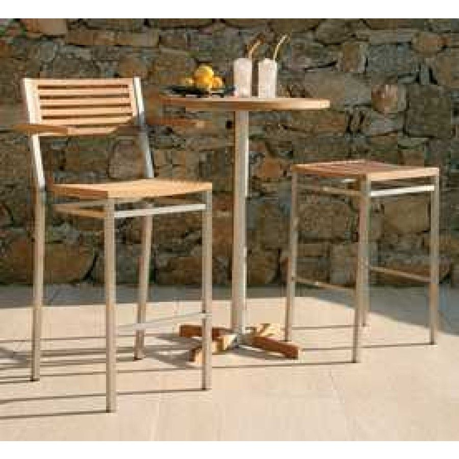 Barlow tyrie equinox stainless steel and teak bar chair with arms sold in pairs only
