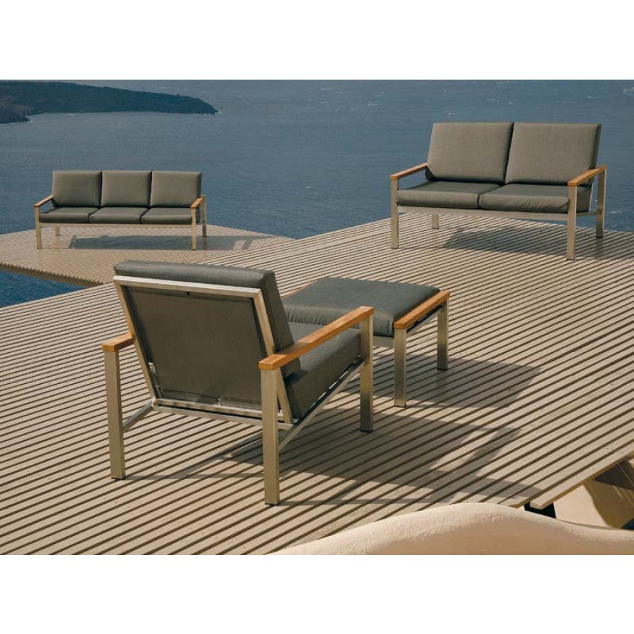 Barlow tyrie equinox stainless steel and teak deep seating lounge chair in coal only