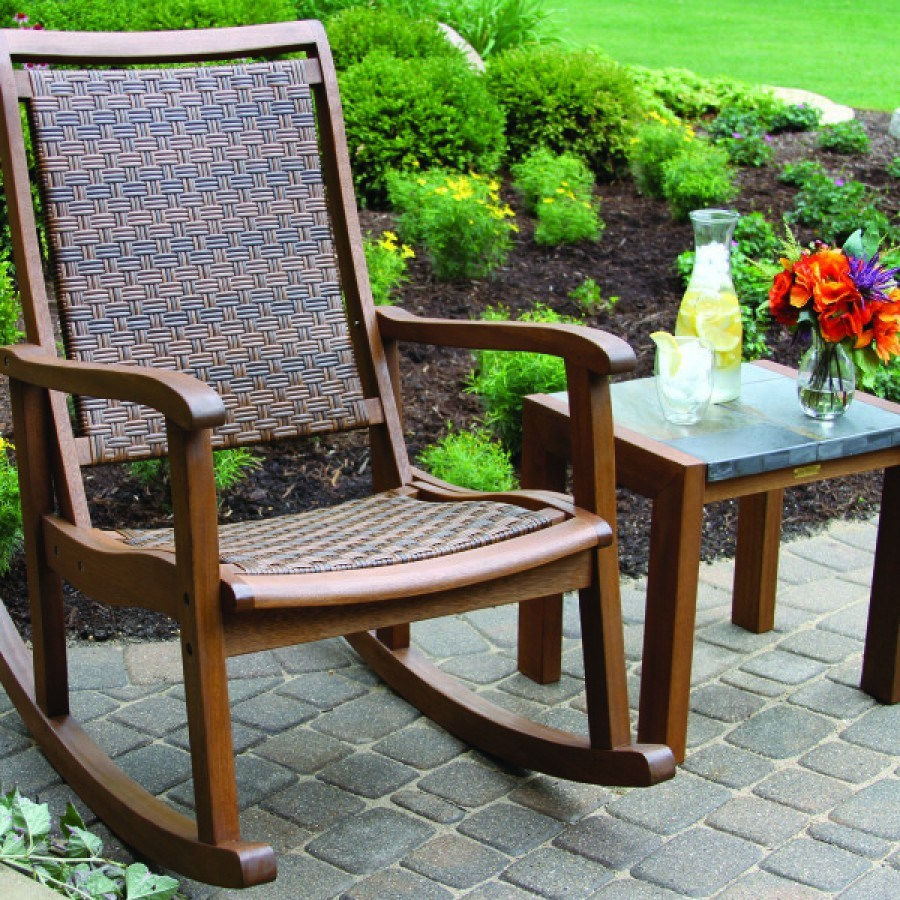 Outdoor interiors eucalyptus and wicker rocker for Outdoor interiors eucalyptus rocking chair