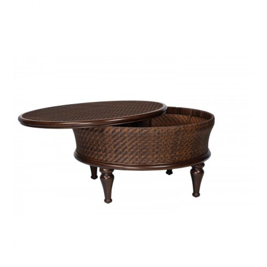 Woodard North Shore Round Storage Cocktail Table By Woodard