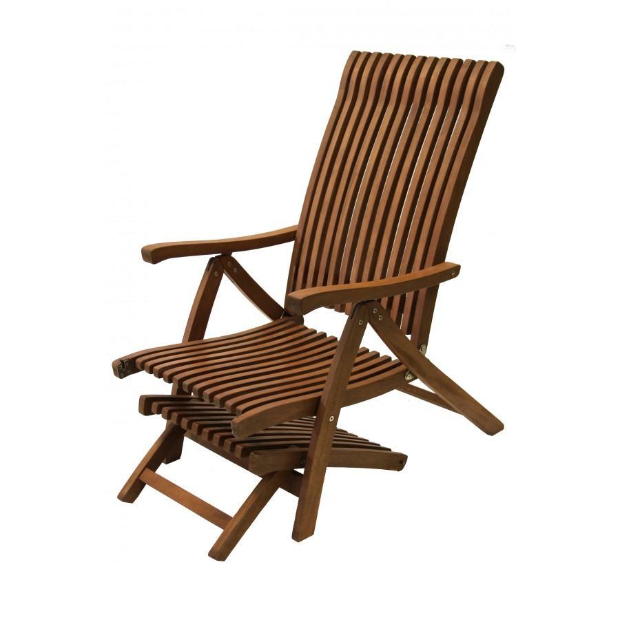 Outdoor interiors venetian eucalyptus steamer lounger for Outdoor interiors eucalyptus rocking chair