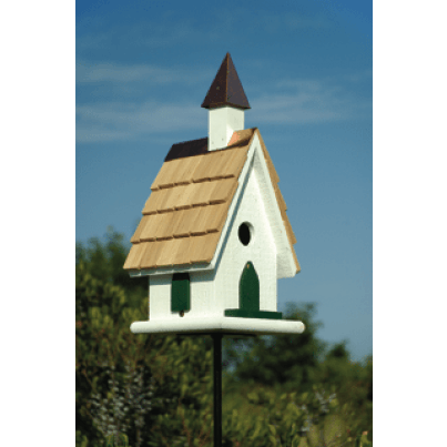 Heartwood Country Church Birdhouse - White with Copper Steeple  by Heartwood