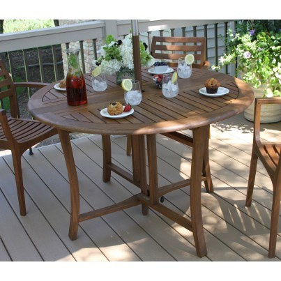 "Outdoor Interiors Brazilian Eucalyptus Folding Table in 43"" and 48""  by Outdoor Interiors"