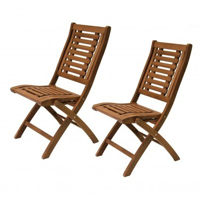 Outdoor Interiors Eucalyptus Folding Side Chairs - Set of Two  by Outdoor Interiors