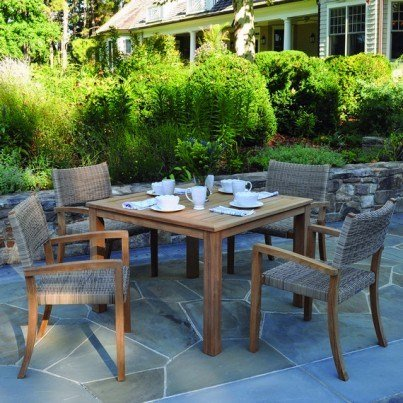 Kingsley Bate Venice Wicker and Wainscott Teak 5 Piece Dining Ensemble  by Kingsley Bate