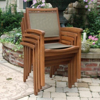 Outdoor Interiors Sling and Eucalyptus Stackable Arm Chair  by Outdoor Interiors