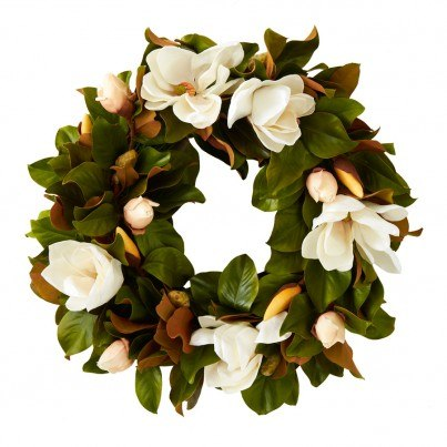 30 Inch White Magnolia Wreath  by Frontera Furniture Company