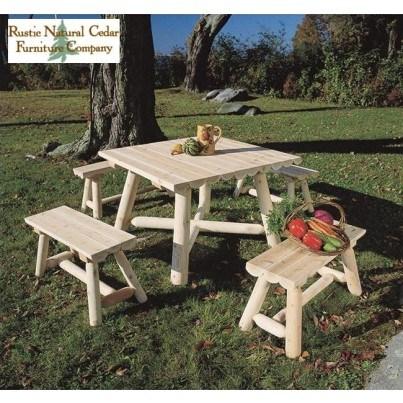 "Rustic Natural Cedar 42"" Square 5 Piece Dining Ensemble  by Rustic Natural Cedar"