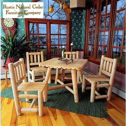 Rustic Natural Cedar Five Piece Square Cedar Dining Ensemble  by Rustic Natural Cedar