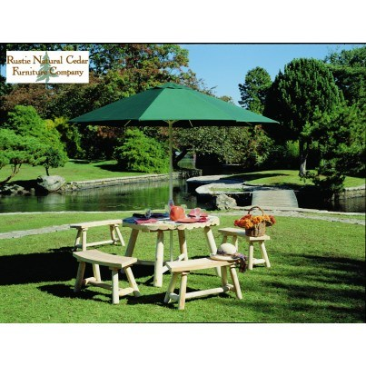 Rustic Natural Cedar 5 piece Dining Ensemble with Round Table and Benches  by Rustic Natural Cedar