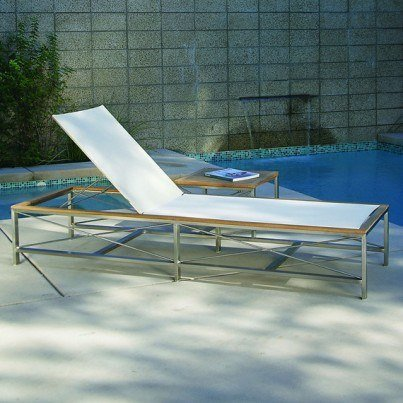 Kingsley Bate Ibiza Stainless Steel and Teak Trim 3 Piece Chaise Lounge Ensemble  by Kingsley Bate