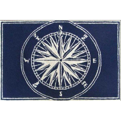 """Trans-Ocean Frontporch Compass Navy Rug 20""""X30""""  by TransOcean"""