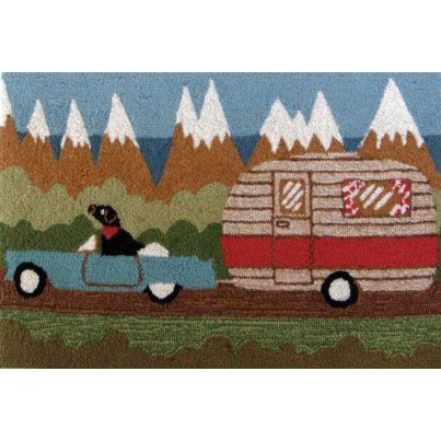 """Trans-Ocean Frontporch Camping Dog Green Rug 24""""x36""""  by TransOcean"""