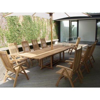 Barlow Tyrie Arundel and Ascot Teak 11pc Dining Ensemble  by Barlow Tyrie