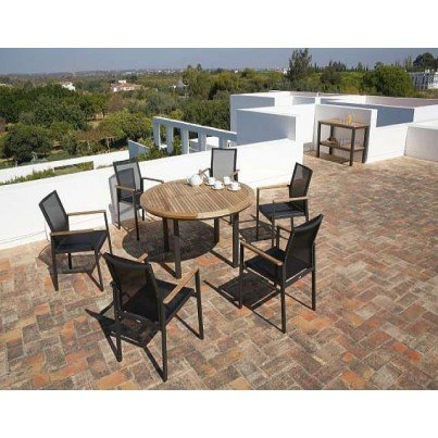 Barlow Tyrie Aura Teak and Aluminum 8pc Dining Ensemble  by Barlow Tyrie