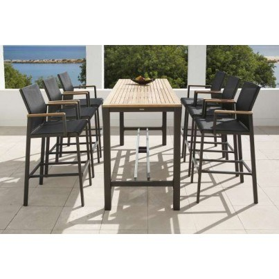 "Barlow Tyrie Aura Teak and Aluminum 78"" Rectangular High Dining Table  by Barlow Tyrie"