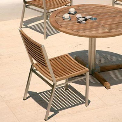 Barlow Tyrie Equinox Stacking Stainless Steel and Teak Side Chair   by Barlow Tyrie