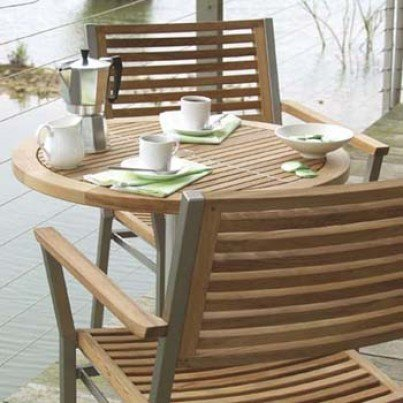 Barlow Tyrie Equinox Stacking Stainless Steel and Teak Dining Armchair  by Barlow Tyrie