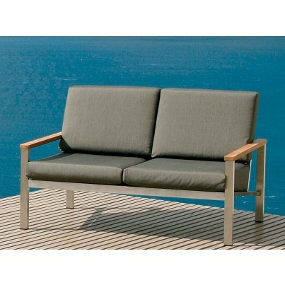 Barlow Tyrie Equinox Stainless Steel Deep Seating Settee - Cushions in Coal only - 1 OPEN BOX  by Barlow Tyrie