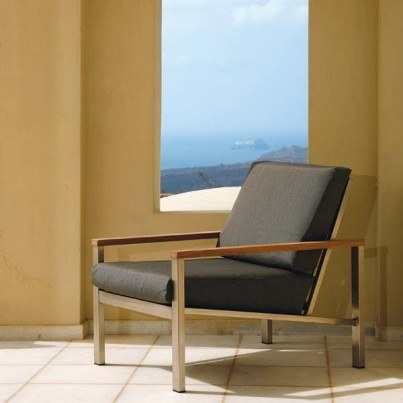 Barlow Tyrie Equinox Stainless Steel and Teak Deep Seating Lounge Chair - in Coal only - 1 OPEN BOX  by Barlow Tyrie