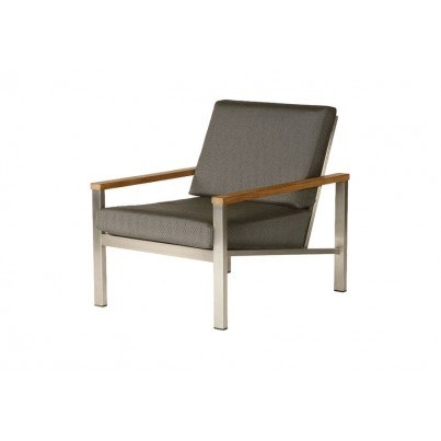 Barlow Tyrie Equinox Stainless Steel and Teak Deep Seating Lounge Chair - in Coal only - 1 Quick Ship  by Barlow Tyrie