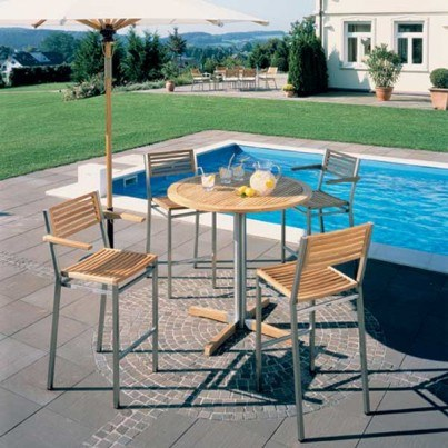 Barlow Tyrie Equinox Stainless Steel and Teak Bar Chair with Arms (sold in pairs only, price each)  by Barlow Tyrie