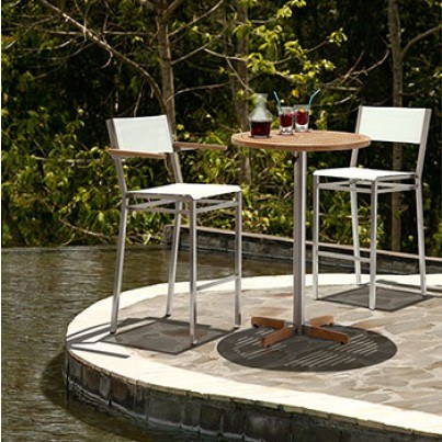 Barlow Tyrie Equinox Stainless Steel Sling or Teak Armless Bar Chair (sold in pairs only, price each)  by Barlow Tyrie