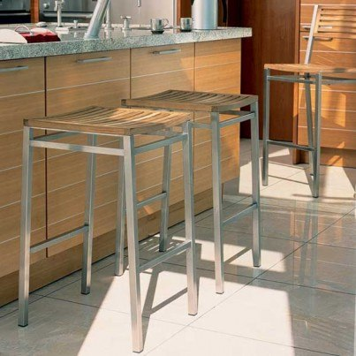 Barlow Tyrie Equinox Teak Stainless Steel and Teak Bar Height Backless Stool  by Barlow Tyrie