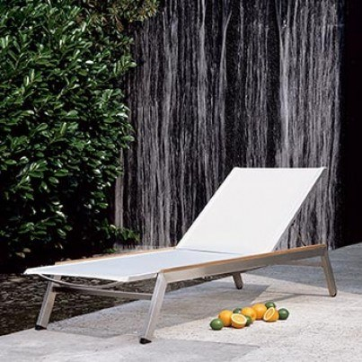 Barlow Tyrie Equinox Stainless Steel and Sling Chaise Lounge  by Barlow Tyrie