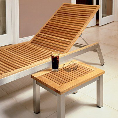 Barlow Tyrie Equinox Stainless Steel and Teak Stacking Chaise Lounge  by Barlow Tyrie