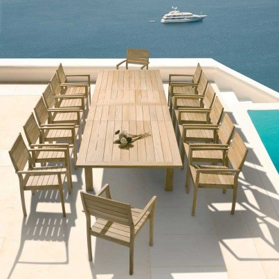 Barlow Tyrie Horizon Teak Stacking Dining Armchair  by Barlow Tyrie