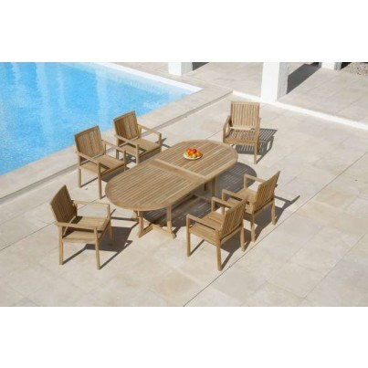 Barlow Tyrie Stirling and Linear Teak 7pc Dining Ensemble  by Barlow Tyrie