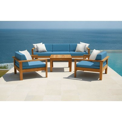 Barlow Tyrie Linear Teak 4 Piece Deep Seating Ensemble  by Barlow Tyrie